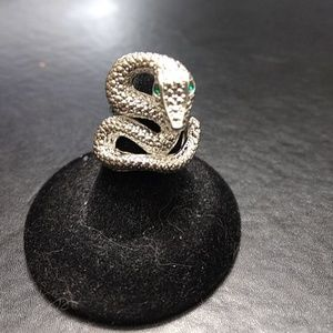 Silver tone snake ring